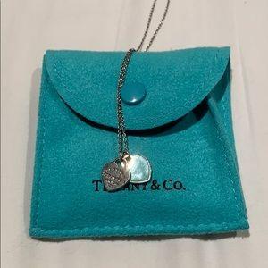 Tiffany mini double heart tag necklace